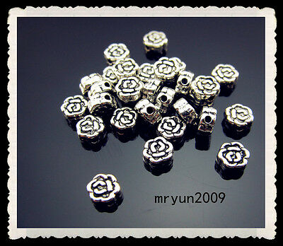 FREE Lots 100pcs Jewelry Handmade Tibetan silver Roses Rondelle SPACER BEADS 5mm