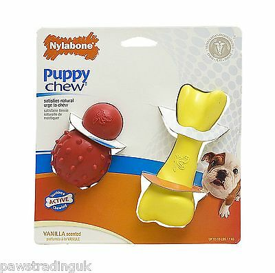 Nylabone Puppy Dog Toy Chew Cone N Bone Strong Teething Pup Play Pack BARGAIN