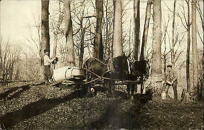 Vermont? Young Men Horse Sled - Maple Sugar Scene c1910 Real Photo Postcard