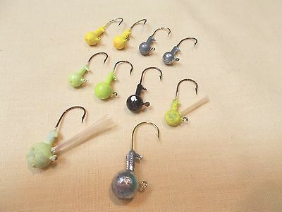 10 Pc. Variety Lot of Jig Head Fishing Lures - New - Un-Painted and Painted