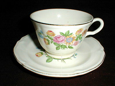 Edwin Knowles Floral Center #KNO191 Cup Saucer/s