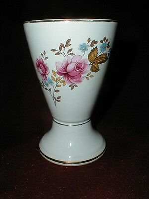 Loucarte Pottery Portugal Ceramic Footed Bathroom Cup w Floral Bouquet