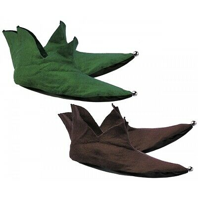Felt Elf Shoes Green or Brown Medieval Costume Accessory Adult Christmas