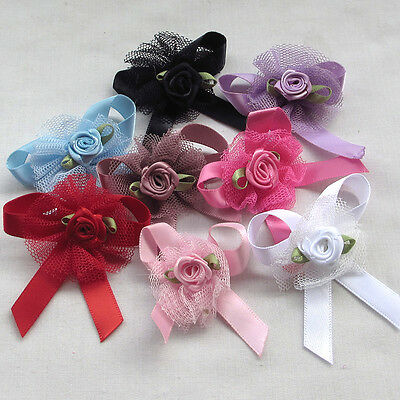 20/100pcs Upick Ribbon Bows Flowers Rose Appliques wedding Sewing Craft