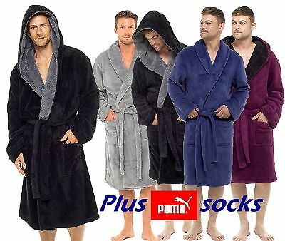 Mens Soft Cozy Fleece Bathrobe Dressing Gown Robe + Puma Sock