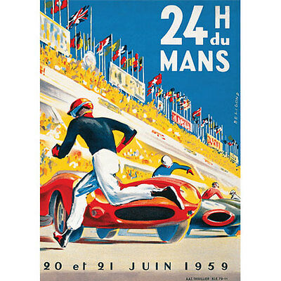 NEW Vintage Le Mans 24H 1959 Racing Classic Reproduction Poster - A3 420 X 297mm