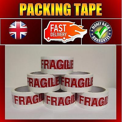 720 ROLLS 48MMx66M FRAGILE PRINTED STRONG PARCEL BOX CARTON PACKING TAPE