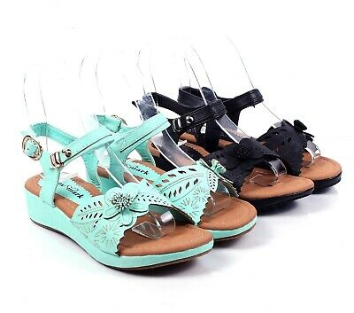 2 Color Floral Strappy Buckle Kids Girls Low Heels SandalsYouth Casual Shoes