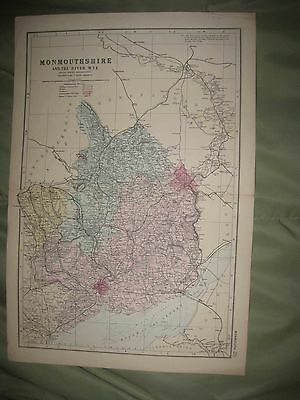 Large Antique 1850 Monmouthshire County River Wye Newport Monmouth England Map N