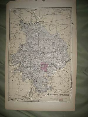 Large Antique 1850 Huntingdonshire County England Handclr Map Huntingdon St Ives