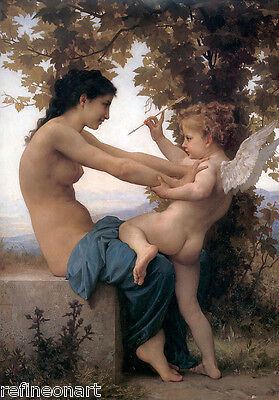 William Bouguereau Young Girl Defending Herself Against Cupid Canvas Print