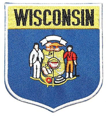 State Of Wisconsin WI Flag Emblem on Shield Sew On Embroidered Applique Patch