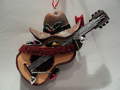 """Ksa """"western Guitar With Cowboy Hat And  Christmas Lights Ornament"""" ~  New!!!"""
