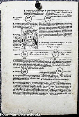 FASCICULUS TEMPORUM LEAF 9 WITH WOODCUTS with TEMPLE OF  SOLOMON INCUNABLE 1485