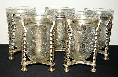 (5) INDIVIDUAL FLOWER VASES ~ 3-FTD SILVERPLATED BASES W/ CRACKLE GLASS INSERTS