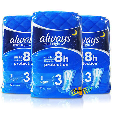 3x Always Maxi Night 10 Cotton Like Sanitary Towels Super Soft & Absorbent Pads