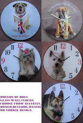 Breeds Of Dog Round Glass Wall Clock.new & Boxed.crazy Clearance