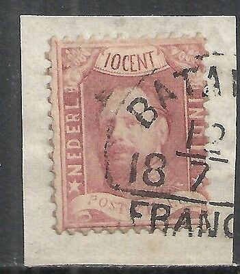 Netherlands Indies stamps 1868 NVPH 2 on fragment  CANC  VF
