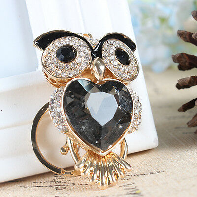 Owl Bird Love Heart Pendant Black Rhinestone Crystal Purse Bag Key Ring Keychain