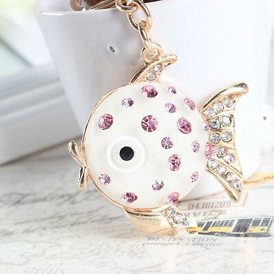 Lovely Fat Fish Big Head Charm Pendant Rhinestone Crystal Key Ring Keychain Gift