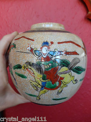 ANTIQUE  19thc  DAO GUANG MARKED CHINESE FAMILLE VERTE WARRIOR VASE