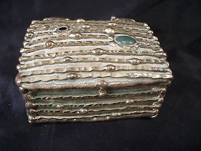 Hand crafted art metal weld box Maches Mexico brass hinged semi precious stones