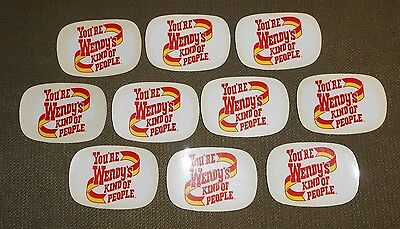 10 old Were Wendy's Kind Of People advertising stickers decals belt buckles