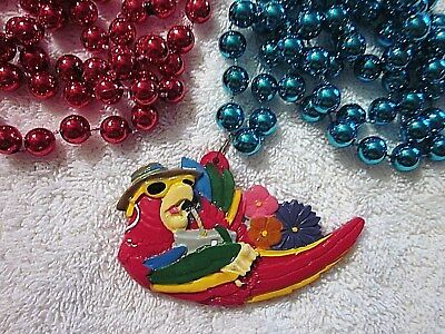 "Colorful ""Lounging Red Parrot"" Mardi Gras Necklace Buffett Drink Shades (B421)"