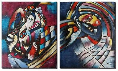 Large Cubism Oil Painting on Canvas x2 Panel. 'The Jesters Tears',  Huge Size!