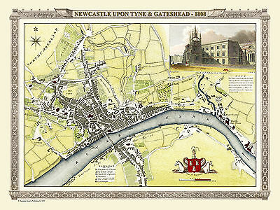 Map Of Newcastle Upon Tyne & Gateshead 1808 By Cole & Roper