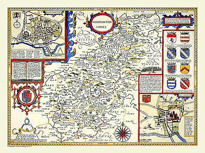 Old County Map Of Northamptonshire 1611 By John Speed