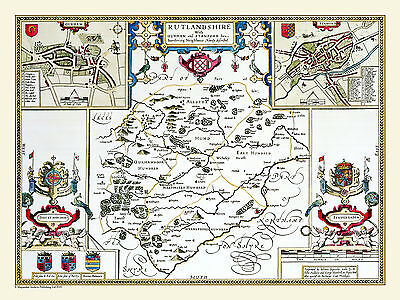 Old County Map Of Rutlandshire 1611 By John Speed