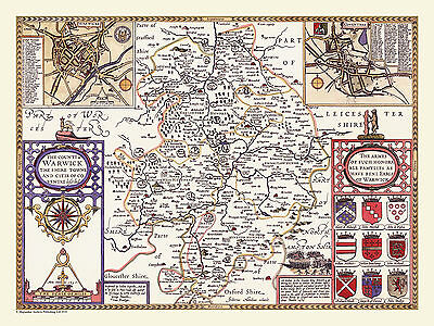 Old County Map Of Warwickshire 1611 By John Speed