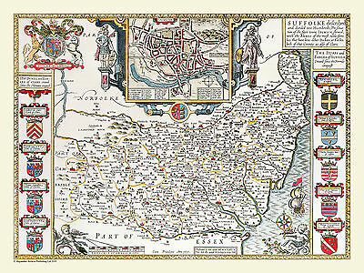 Old County Map Of Suffolk 1611 By John Speed