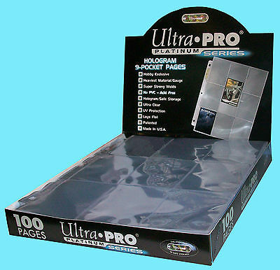 100 ULTRA PRO PLATINUM 9-POCKET Card Pages Sheets Protectors 1 box 209D baseball
