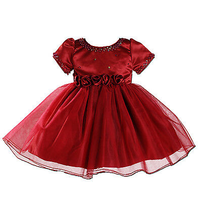 New Burgundy Satin Christening Party Flower Girl Dress 9-12 Months