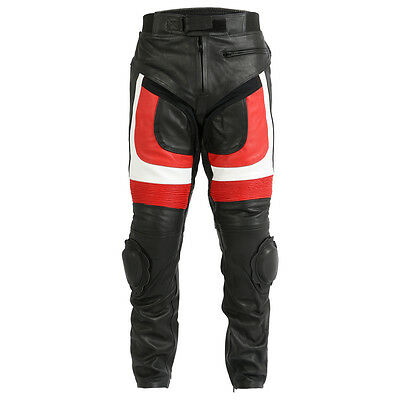 Turin Black & Red Leather Motorcycle / Motorbike TrouserS Sliders & Protection