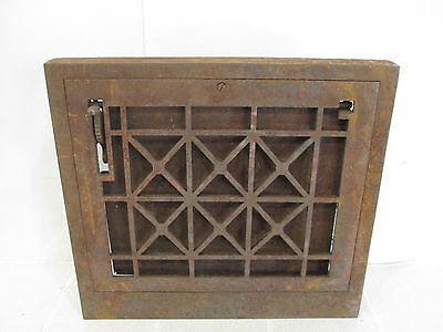 Vintage Cast Iron Cross Grid Wall Grate w/Damper ASG#2