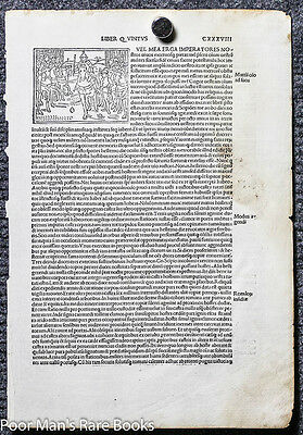 1495 Incunable Leaf Livius Titus. Historiaeromanae Decades. Leaf 138 W/  Woodcu