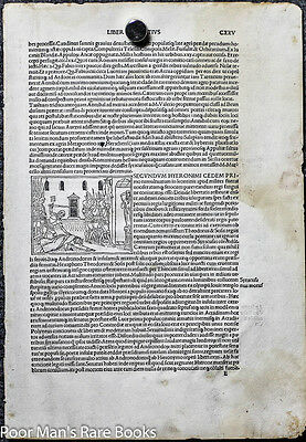1495 INCUNABLE LEAF LIVIUS TITUS. HISTORIAEROMANAE DECADES. LEAF 125 w/  WOODCU
