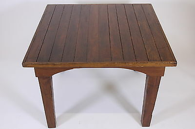 """Salvaged Wood Plank Table Walnut Color 40"""" Square With Arched Skirting FREE SHIP"""