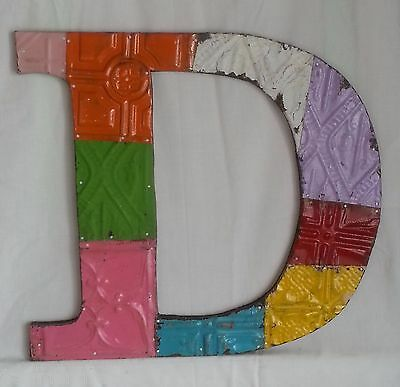 "Large Antique Tin Ceiling Wrapped 16"" Letter 'B6' Patchwork Mosaic Multi Color"