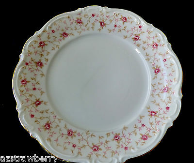 MITTERTEICH CHINA Bavaria Lady Claire Bread Plate Pink Roses Pattern Gold rim
