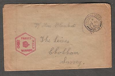 WWI censor cover Army Post Office R5 to Miss Plunket The Limes Chobham Surrey