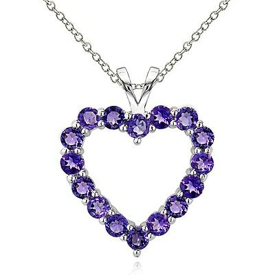 Amethyst /& Diamond Cluster Heart Necklace 925 Silver 5.1ct African Amethyst