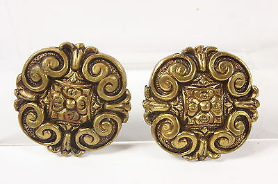 Lot of 2 Vtg Brass Made in Spain Art Architectural Elements Decorative Emblems