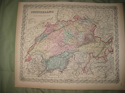 Large Fine Antique 1855 Switzerland Colton Handcolored Map Mountain Climbing Nr