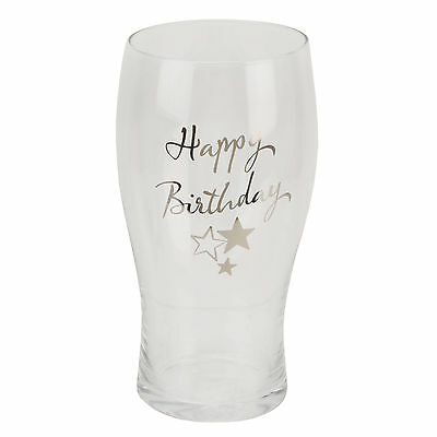Personalised Happy Birthday Beer Pint Glass G319HB Add Your Own Engraved Message