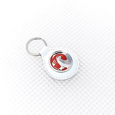 WHITE Leather Richbrook Vauxhall Logo Leather Key Ring / Fob 4400.41