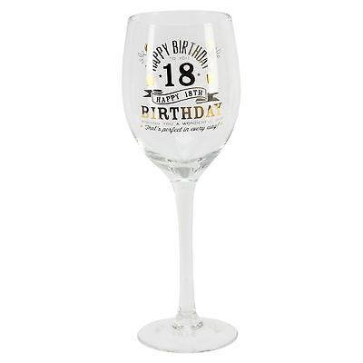 Personalised 18 18th Happy Birthday Wine Glass & Gift Box G32218 Add Own Message